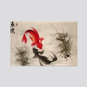 Koi Fish and Flowers Rectangle Magnet