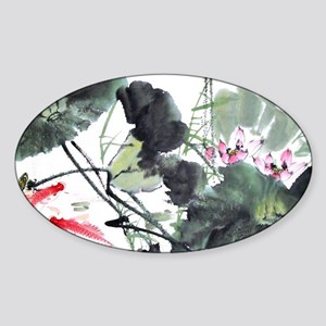 Koi Fish and Flowers Sticker (Oval)