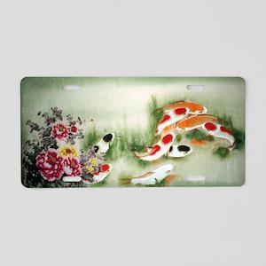 Koi Fish and Flowers Aluminum License Plate