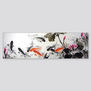 Koi Fish and Flowers Sticker (Bumper)