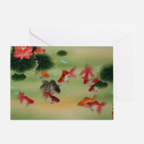 Koi Fish and Flowers Greeting Card