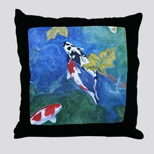 Koi Fish and Flowers Throw Pillow