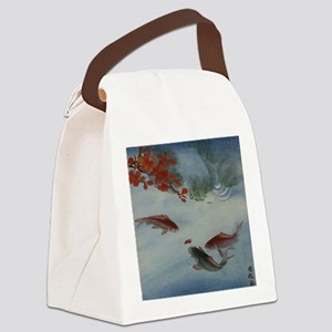 Koi Fish and Flowers Canvas Lunch Bag