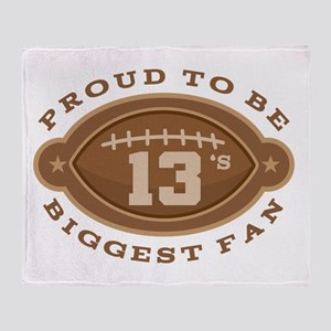 Football Number 13 Biggest Fan Throw Blanket