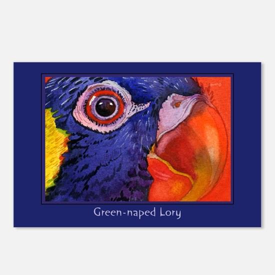 Green naped Lory Parrot Postcards (Package of 8)