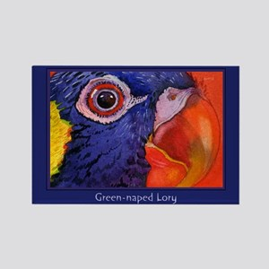 Green naped Lory Parrot Rectangle Magnet