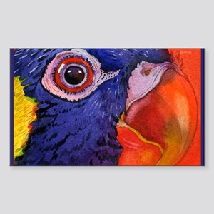 Green naped Lory Parrot Rectangle Sticker