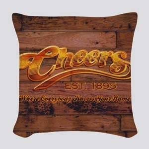 Cheers Sign Woven Throw Pillow