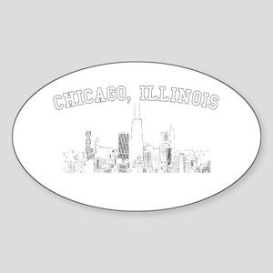 Chicago, Illinois Skyline Oval Sticker
