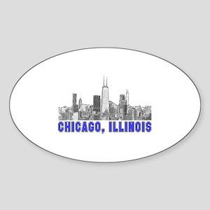 Chicago, Illinois Oval Sticker