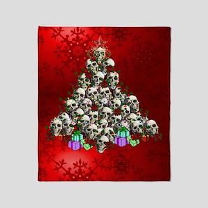 Merry Christmas Skulls Throw Blanket