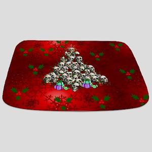 Merry Christmas Skulls Bathmat