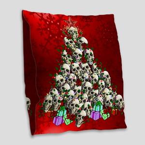 Merry Christmas Skulls Burlap Throw Pillow