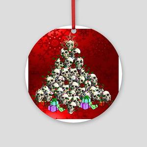 Merry Christmas Skulls Ornament (Round)