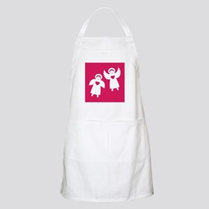 Two angels with hearts on a red background Apron
