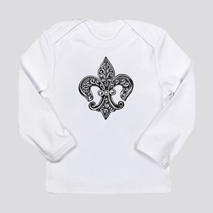 Vintage Black Fleur De Lis Long Sleeve T-Shirt