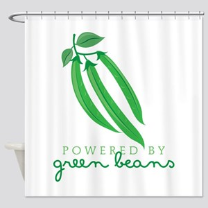 Powered By Green Beans Shower Curtain