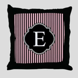Pink Black Pin Stripes Monogram Throw Pillow