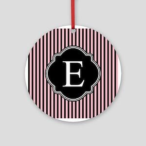 Pink Black Pin Stripes Monogram Ornament (Round)