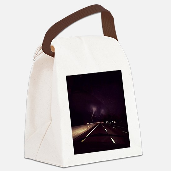 Lightening on NJ Turnpike Canvas Lunch Bag