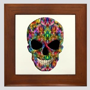 Colorful Fire Skull Framed Tile