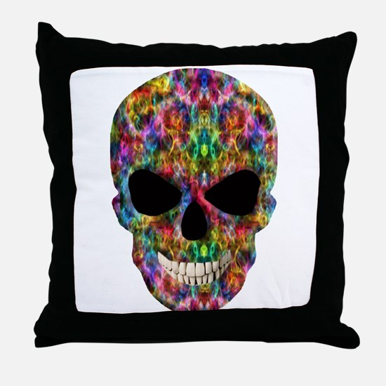 Colorful Fire Skull Throw Pillow