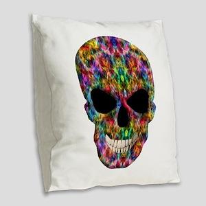Colorful Fire Skull Burlap Throw Pillow