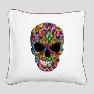 Colorful Fire Skull Square Canvas Pillow