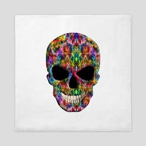 Colorful Fire Skull Queen Duvet