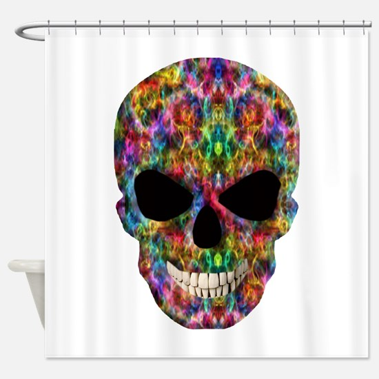 Colorful Fire Skull Shower Curtain