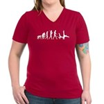 Evolution of Capoeira Women's V-Neck Dark T-Shirt