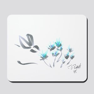 bunny with blue flowers Mousepad