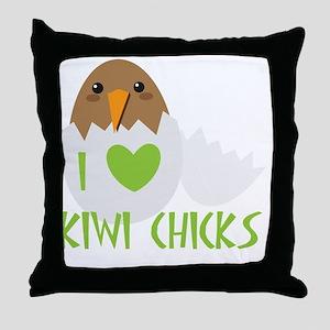I love KIWI chicks Throw Pillow