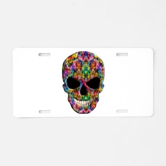 Colorful Fire Skull Aluminum License Plate