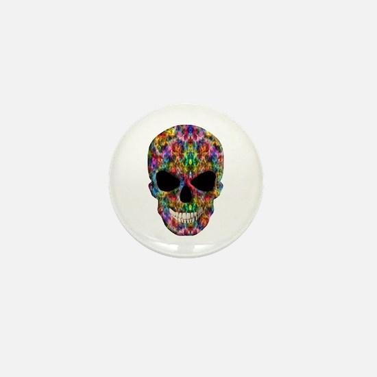 Colorful Fire Skull Mini Button