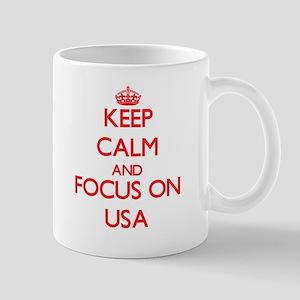 Keep Calm and focus on Usa Mugs