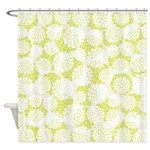 Lime Green Blossoms Shower Curtain