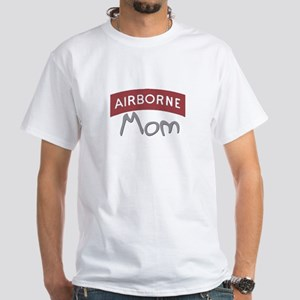 """Aiirborne Mom (red)"" White T-Shirt"