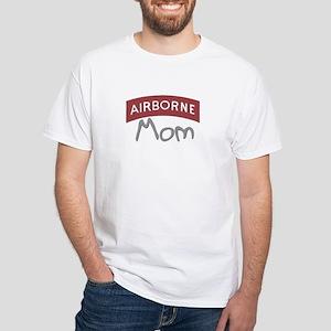 """Aiirborne Mom (red)"" White T-Shirt"