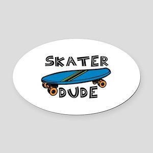 Skater Dude Oval Car Magnet