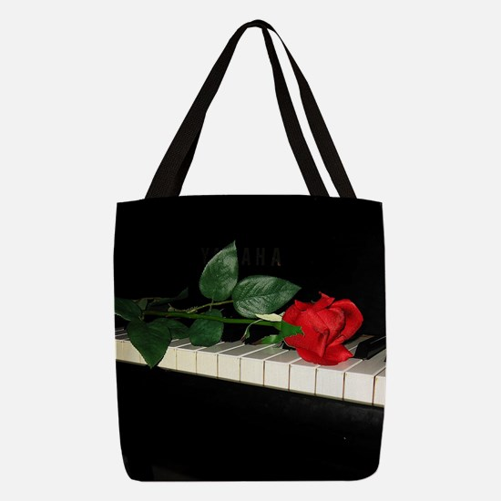 Rose on Piano 2 Polyester Tote Bag