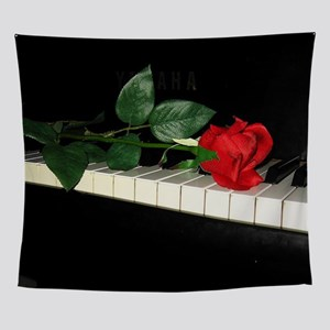 Rose on Piano 2 Wall Tapestry