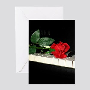 Rose on Piano 2 Greeting Cards