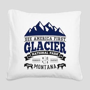 Glacier Vintage Square Canvas Pillow
