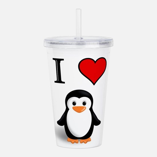 Cute Penguins love Acrylic Double-wall Tumbler