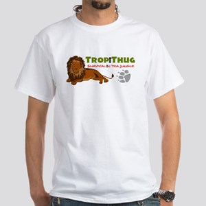 TropiThug White Tee Shirt Jungle Lion Logo Premium