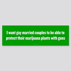 Gay Married Pot Plant Defense Bumper Sticker