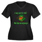 Kiss Me Women's Plus Size V-Neck Dark T-Shirt