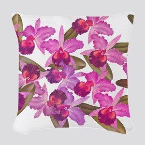 Orchid Flowers Woven Throw Pillow