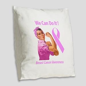 Breast Cancer Awareness Burlap Throw Pillow